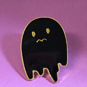 Jewelry - Unhappy Halloween Ghost Black and Gold Enamel Pin